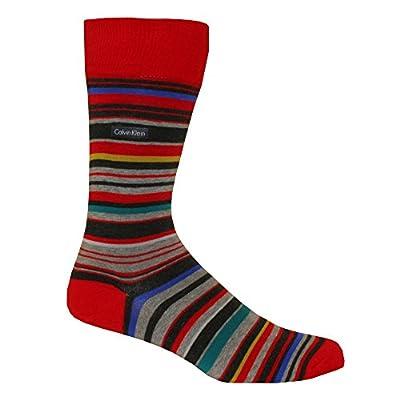 Calvin Klein Combed Cotton Barcode Multi-stripe Men's Socks, Red