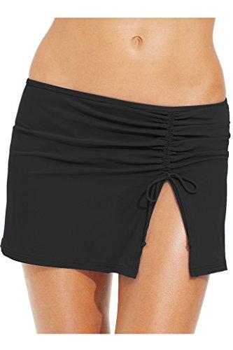 55855064de4 Womens Skirted Bikini Bottom Solid Sarong Ruffled Swim Skirt Plus Size  Swimwear Swimming Wrap Beachwear