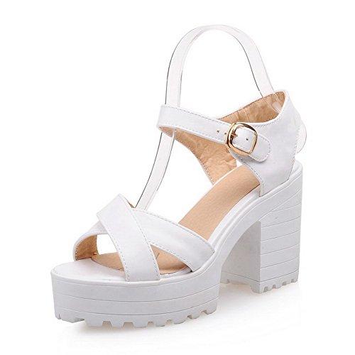 Amoonyfashion Kvinna Kick-häl Mjukt Material Fast Spänne Öppen Tå Krängt-sandaler Vita