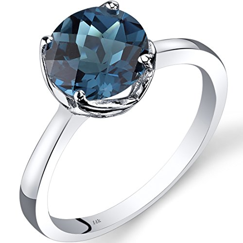 Peora 14K White Gold London Blue Topaz Solitaire Ring 2.25 Carat Checkerboard Cut