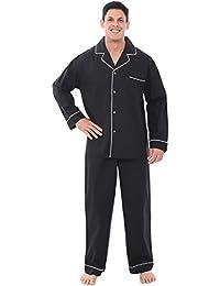 Mens Cotton Solid Pajamas, Long Woven Pj Set
