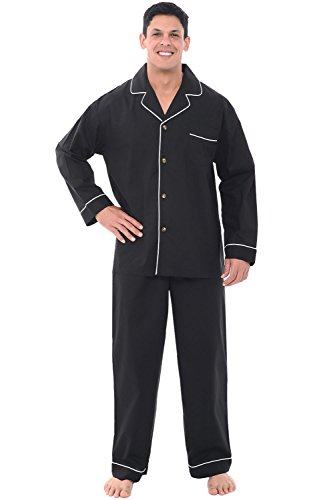 Alexander Del Rossa Men's Pajama Set - Woven Cotton PJs, Long Pants & Sleeves, 3XL Black (A0714BLK3X)