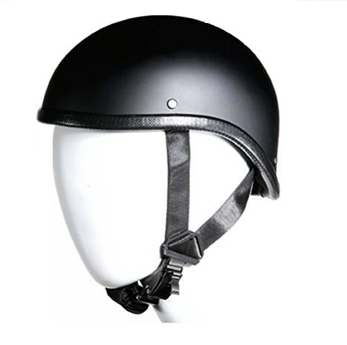 Low Profile Skull Cap Harley Chopper Novelty Gladiator Flat Black Motorcycle Helmet Skid Lid (XL 23 3/4