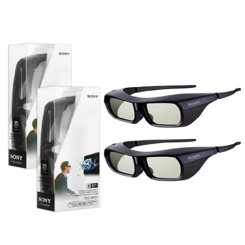 2X New Original Black Sony TDG-BR250 Active Shutter 3D Glasses for Bravia HDTV by Sony