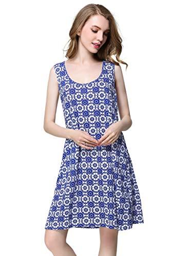 Sunshine Chow Women's Nightgown Sleeveless Printed Dress Sundress Womans Loose Dresses Deep Blue
