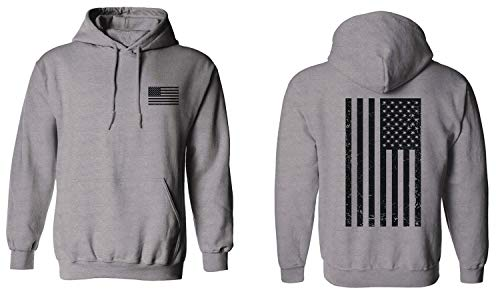 Vintage American Flag United States of America Military Army Marine us Navy USA Hoodie (Ligth Gray, Small)