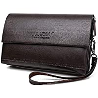 Men Multifunctional Genuine Leather multilayer High capacity clutch bag Wallet hand bag QB68 Brown