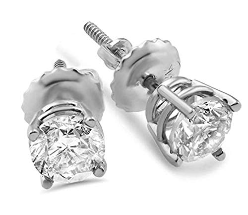 Jewlery By Bruno Round Diamond Stud Earrings Solitaire For Women Martini Set in 14K White Gold 2.04 Crt Certified (D-E Color,SI1/SI2Clarity) ()