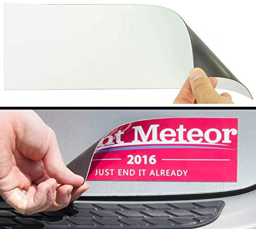 Cut-to-Size Bumper Sticker Magnetizer 2 Pack: Turn Any Decal Into a Strong Magnet. Durable & Weatherproof Magnetic Strip Protects Paint & Allows for Easy Swaps. Flexible 4x12 Sheet Guaranteed to Stick ()