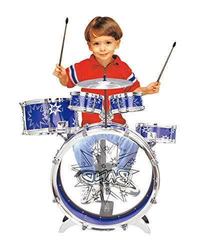 MeeYum Kids Drum Set Musical Instrument Rock n Roll Little Boys Band with Stool (Blue)