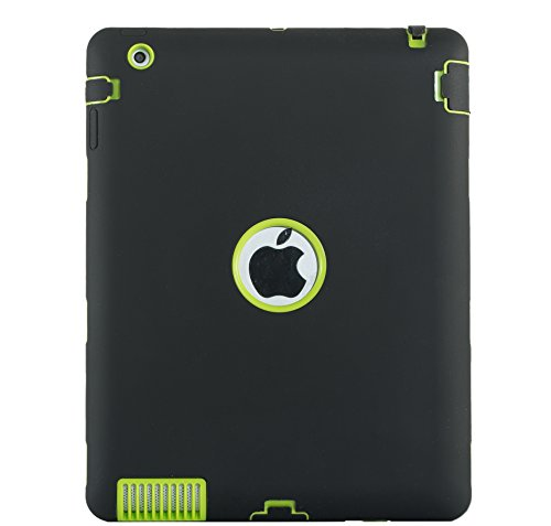 iPad 4 Case,iPad 3 Case,iPad 2 Case, UZER Heavy Duty Shockproof Anti-Slip Silicone High Impact Resistant Hybrid Three Layer Hard PC+Silicone Armor Protective Case Cover for iPad 2/3/4 ()