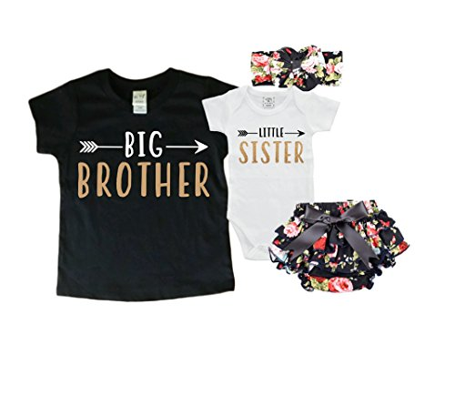 Sweet Youngster Big Brother/Little Sister Set. Matching Big Brother Little Sister Set 0-3Mo Bodysuit & 3T Shirt (Brother Sister Clothes)