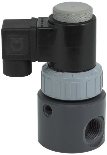 "Plast-O-Matic EAST Series PVC Solenoid Valve, For Corrosive and Ultra-Pure Liquids, 2 Ways, Normally Closed, Viton Diaphragm, 0.5 Cv factor, 1/2"" NPT Female from Plast-O-Matic"
