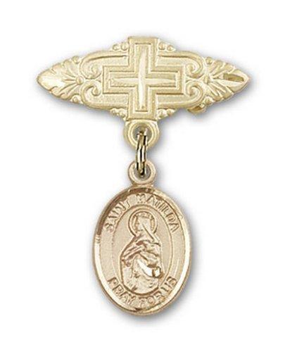 Icecarats Or Bijoux De Créateurs Rempli R. Matilda Broche De Badge Charme Avec Une Croix X 3/4