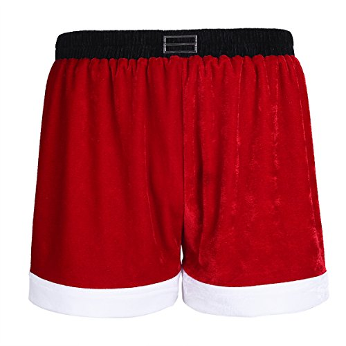 iiniim Christmas Holiday Mens Boxer Shorts Flannel Christmas Santa Claus Boxers Red X-Large ()