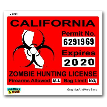 California CA Zombie Hunting License Permit Red - Biohazard Response Team - Window Bumper Locker Sticker