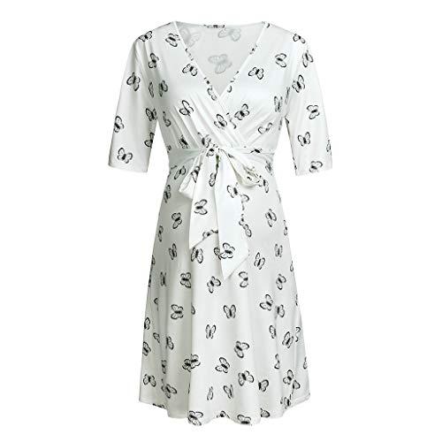 ❤️ Mealeaf ❤️ Women's Maternity 1/2 Sleeve V-Neck Floral Print Length Wrap Dress with - Dress Print Lined Circles