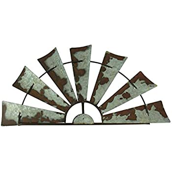 24 inch Rusty Weathered Metal Half Windmill Farmhouse Wall Hanging Decor