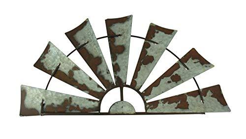 Rusty Weathered Metal Half Windmill Wall Hanging