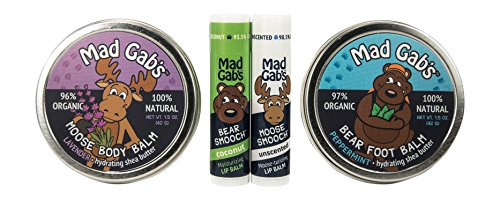 Mad Gab's 4-Piece Natural & Organic Moose & Bear Smooch Stick and Foot Balm Gift Set made in New England