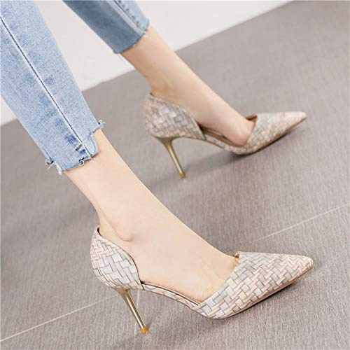 HRCxue Pumps Mode zeigte gewebtes Muster Farbabstimmung Hohle Stiletto High Heels weibliche Persönlichkeit unregelmäßigen flachen Mund einzelne Schuhe, 37, grau
