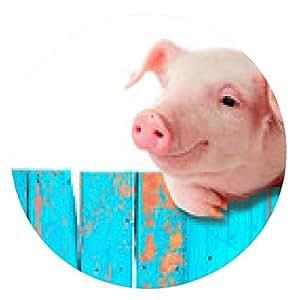 alfombrilla de ratón cerdo divertido colgando de una valla. Aislado en el fondo blanco. - ronda - 20cm