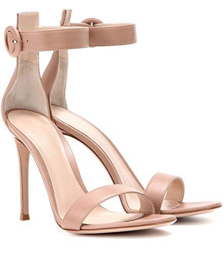 Eldof Womens High Heel Sandals Open Toe Ankle Strap Stilettos Sexy Classic Sandal Heels Nude OwAow