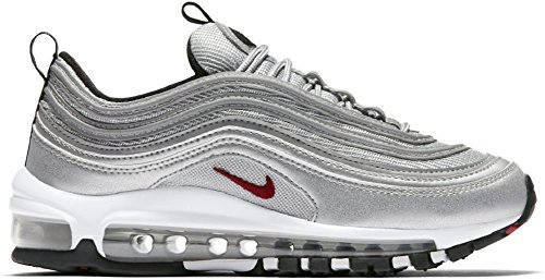 NIKE Air Max 97 'Silver Bullet' QS (GS) Size 4y (or Women's 5.5) Metallic Silver/Red (4Y (23cm = Women's 5.5))