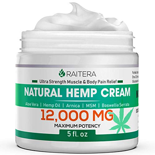 Raitera Hemp Cream for Pain Relief 12000MG, Pure Hemp Oil Extract, MSM, Arnica - Natural Ingredients - Max Strength Balm for Relief Arthritis, Carpal Tunnel, Back, Joint, Nerve, Fibromyalgia, Sciatica (Best Foot Pain Relief Cream)