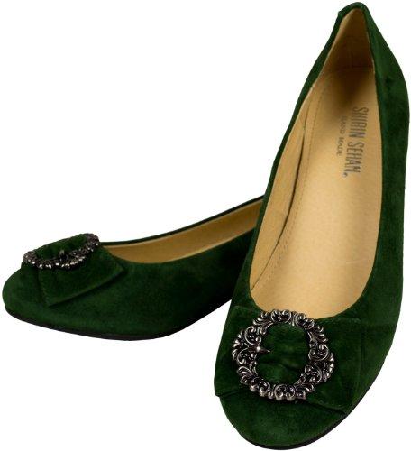 Élégant Pumps Greta Vert foncé Sapin Bloc Paragraphe, 3cm, Costume, Chaussures Boucle Forest Green