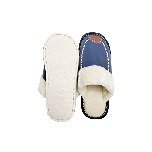 Foam House Slipper Lined Blue Faux Indoor Fluffy Skid Slippers Fur Men Anti HRFEER amp;Outdoor Women's Cozy Memory I4x0wAz