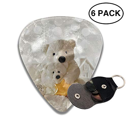 Cute Christmas Bear Small Medium Large 0.46 0.71 0.96mm Mini Flex Assortment Celluloid Top Classic 351 Rock Electric Acoustic Guitar Pick Accessories Variety Pack ()