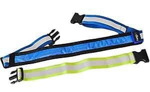 LED Reflective Belt USB Rechargeable + Extension Belt - Mr Visibility Gear for Running, Cycling, Walking - Adjustable & Lightweight for Women, Men, Kids, Dogs - Safer Than Reflective Vest - Blue