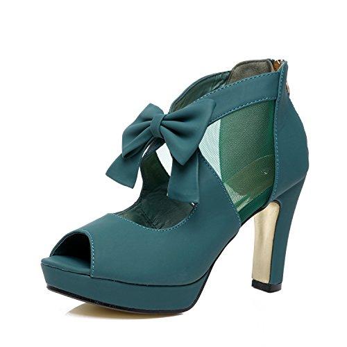 GATUXUS Open Toe Women Platform High Heel Shoes Bows Strappy Sandals (8 B(M) US, Dark Green) ()