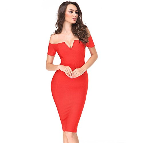 Whoinshop Damen Off Schulter Elegante Bodycon Kleid Schulterfrei ...