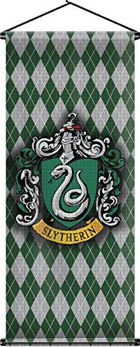 Nordic Souvenirs Harry Potter Style Banner - Slytherin Flag 43in x 16in Wall Scroll - Ready to Hang - Perfect Barware Man Cave Gift - Unique HP Collectible Accessories
