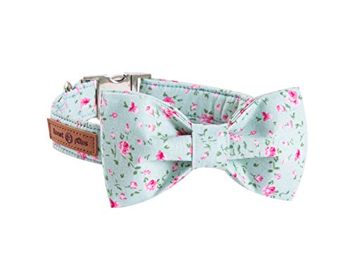 Lionet Paws Cotton Dog Collar Bowtie, Durable Adjustable Comfortable Collar...