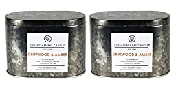 Chesapeake Bay Candle Heritage Collection Double Wick Tin Candle, Driftwood & Amber (2-Pack)