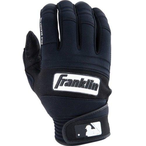 Franklin Sports MLB Adult Cold Weather Pro Batting Glove, Pair, Medium, Black/Black