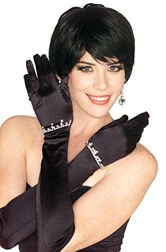 Women's Long Satin Rhinestone Gloves, Black, One Size