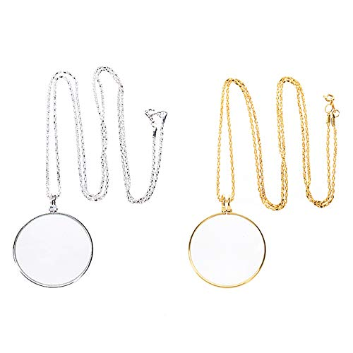 Gaiatop Magnifying Glass, 2pcs Optical Magnifier Lens with Necklace Chain Monocle for Library Reading Fine Print Zooming Increase Vision Jewelry Gold and Sliver
