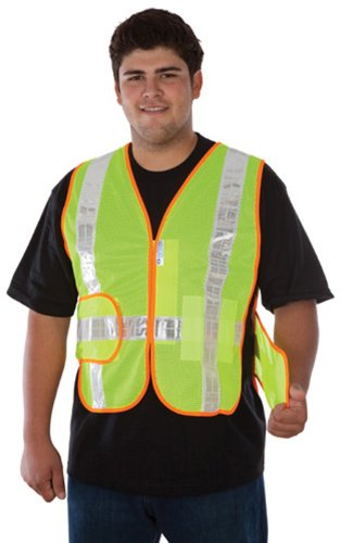 Liberty HiVizGard Polyester All Mesh Class 2 Chevron Vest with 2 Wide Silver Reflective Stripes Fluorescent Lime Green Liberty Glove /& Safety C16852GS//XL Small//X-Large