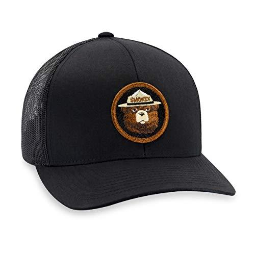 Bear Mesh - Smokey The Bear Hat - Trucker Mesh Snapback Baseball Cap - Black