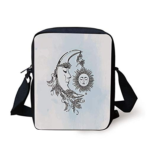 Sun,Hand Drawn Monochrome Moon with Feather Crown Leaves and Sticks Spiritual Decorative,Pale Blue Black White Print Kids Crossbody Messenger Bag Purse