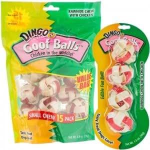 Amazon.com : Dingo Goof Balls Chicken Rawhide Chew: Small