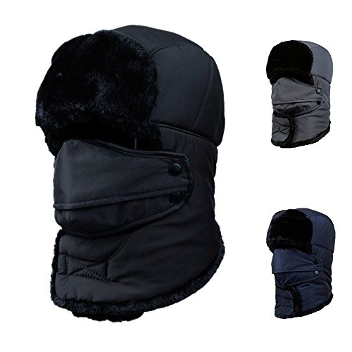 Woods World 2016 New Style Unisex Winter Trooper Trapper Hunting Hat Aviator Winter Cap (BLACK)