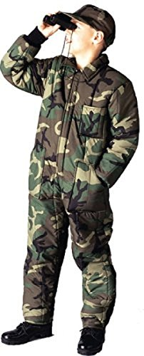 Woodland Camouflage Kids Insulated Coveralls (Medium)