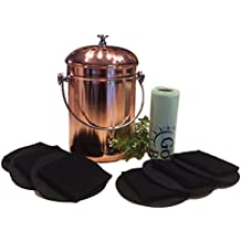 Kitchen Compost Pail Bin for Countertop, Leakproof Food Scrap Container, Stainless Steel with Copper Plating, 1 Gallon, Comes with Bonus 1 Year's Worth of Dual Charcoal Filters and Compost Pail Bags