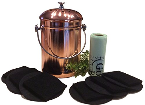 Kitchen Compost Pail Bin for Countertop - Seamless, Leakproof Stainless Steel with Genuine Copper Plating; 1 Gallon, Comes with Bonus 1 Year's Worth of Dual Charcoal Filters & Compost Pail Bags