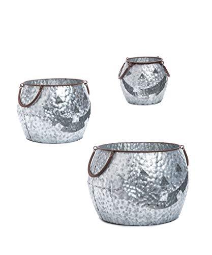 (Transpac Imports D1477 Galvanized Metal Jack-O-Lantern Set of 3 Bucket,)